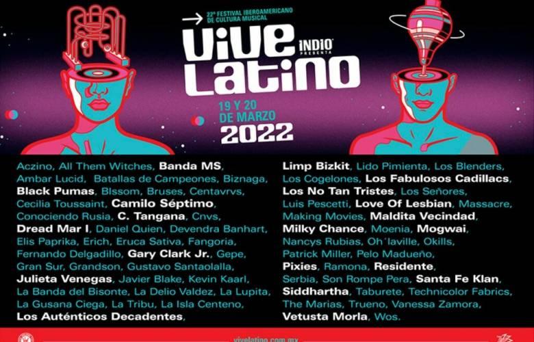 Vive Latino 2022:  Revelan cartel completo, Nu metal, rock, banda y hasta trova
